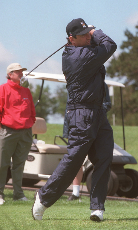 . Former Detroit Lions kicker Eddie Murray tees off during the Ninth Annual Detroit Lions Invitational, held at the Indianwood Golf and Country Club in Lake Orion, Mich., Monday, June 14, 1999.