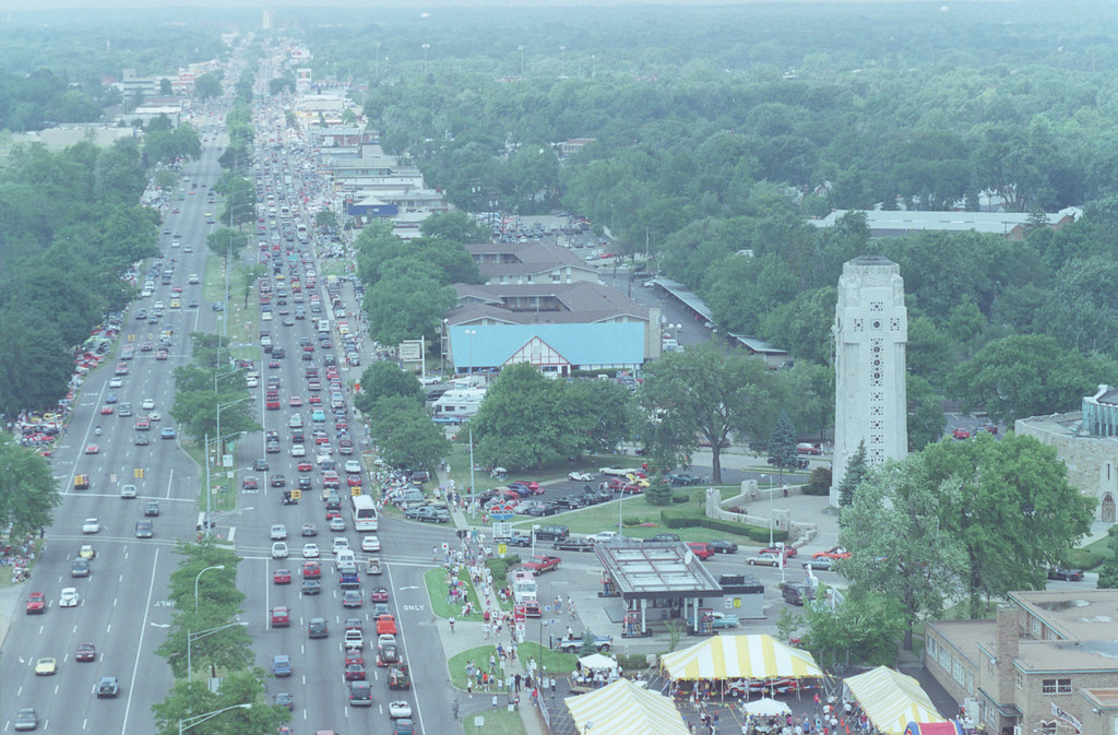 Description of . Aerial view of woodward going northbound at 12 mile. (shrine of the little flower at right)