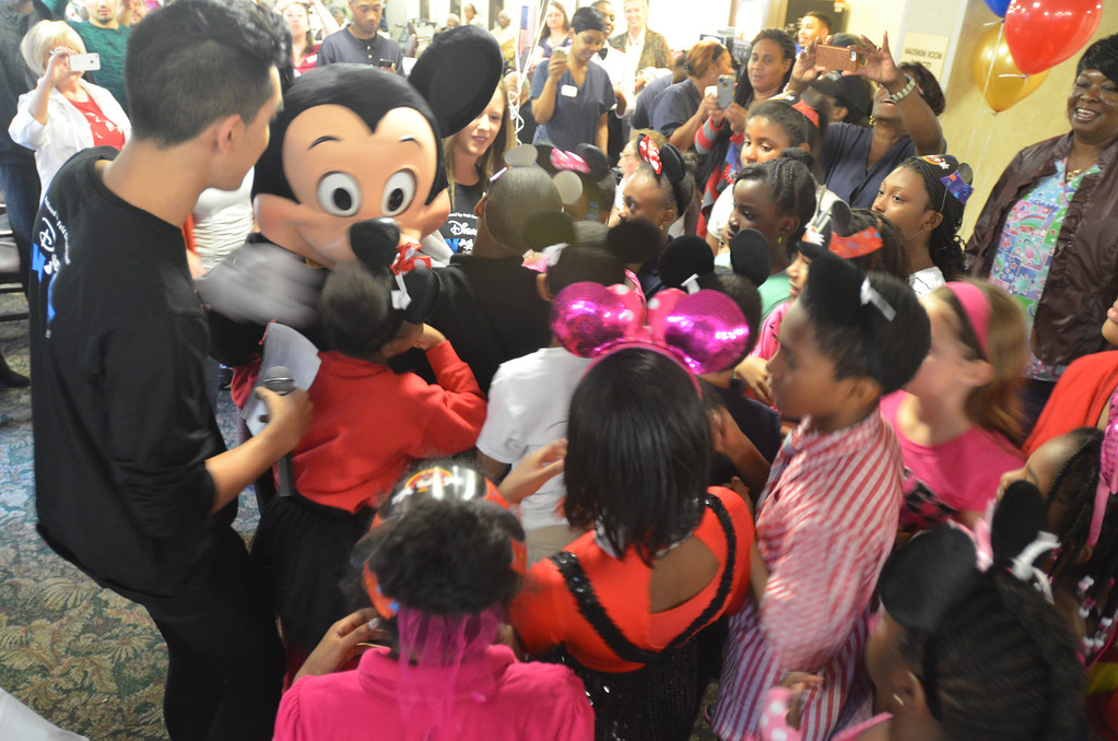 Description of . Kids from Stevenson Elementary School Southfield got a chance to meet with Mickey Mouse at the 85th birthday anniversary party organized by Disney On Ice.