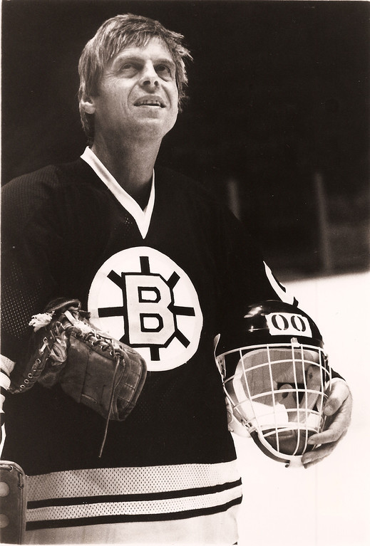 Description of . George Plimpton practicing with the Boston Bruins, 1977 (Photo: Sports Illustrated/Laemmle Zeller Films)