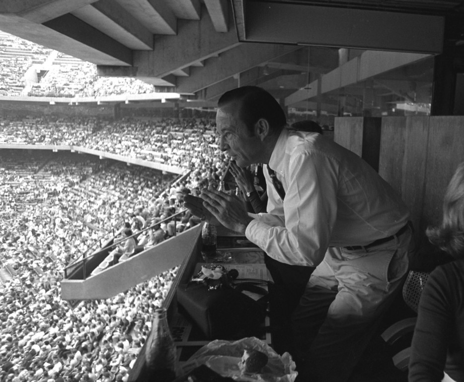 Description of . FILE PHOTO--Aug. 23, 1975--Opening night at the Pontiac Metropolitan Stadium (Pontiac Silverdome).  Detroit Lions owner William Clay Ford Sr., gets a look at the action on the field.
