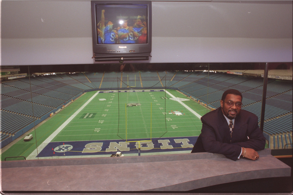 Description of . Eric Walker (Ch Sp of 1st name) Stadium Direcor at Pontiac Silverdome inside the new Super Party suite