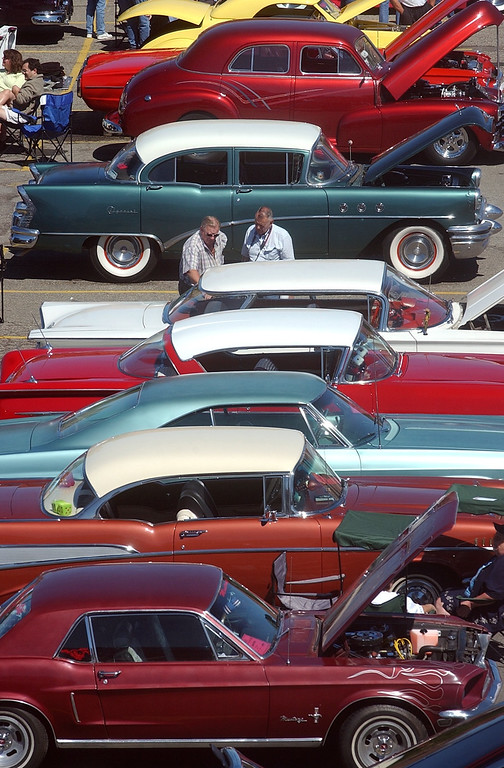 . Some of the classic cars on display at Lot 9 next to the Phoenix Center in downtown Pontiac, during the 2004 Woodward Dream Cruise, Saturday August 21, 2004.