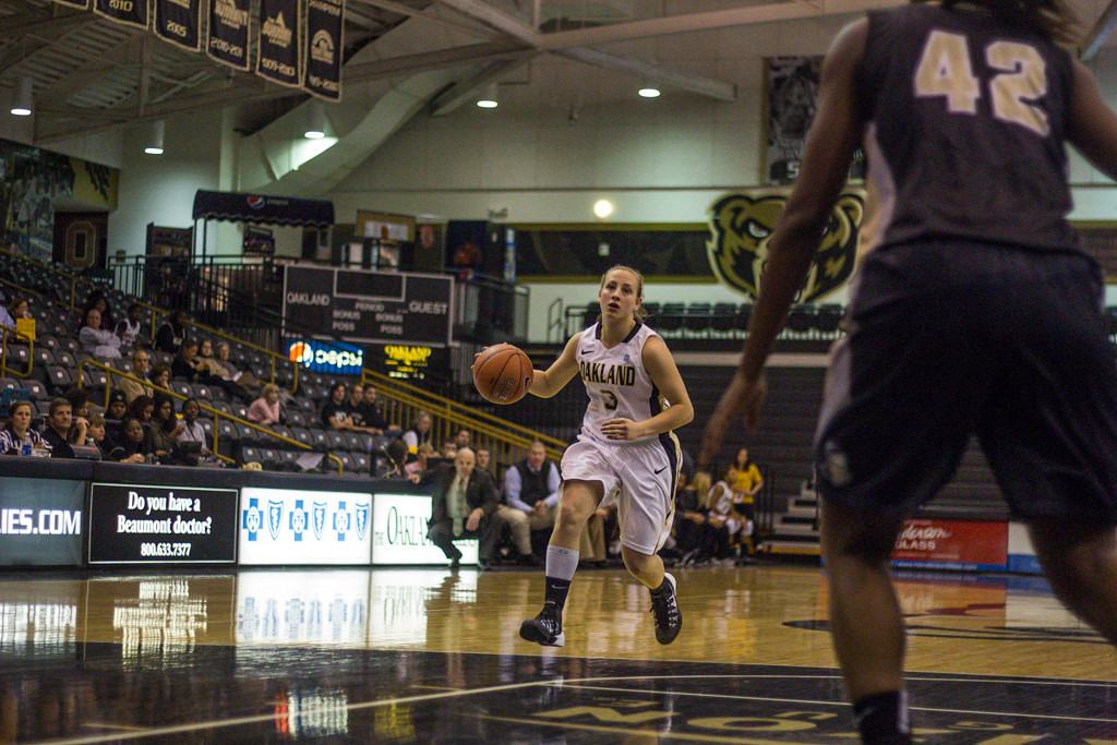 Description of . Popkey dribbles the ball down the court. Photo by Dylan Dulberg