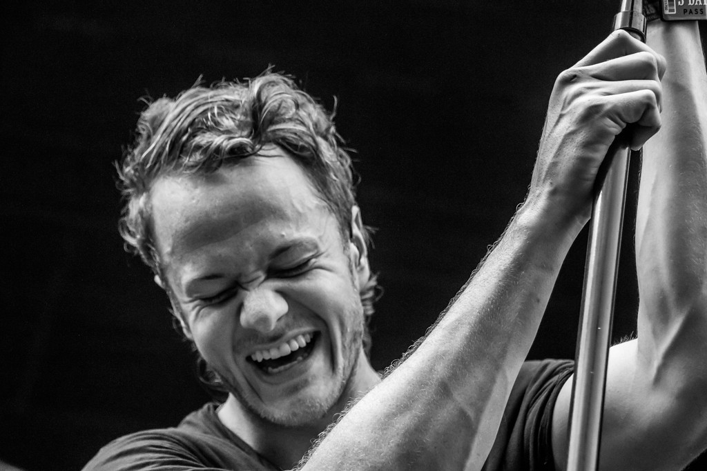 Description of . Imagine Dragons frontman/vocalist Dan Reynolds laughs it off as their transformer blows, leaving them with no microphones or lights in the middle of the third song.