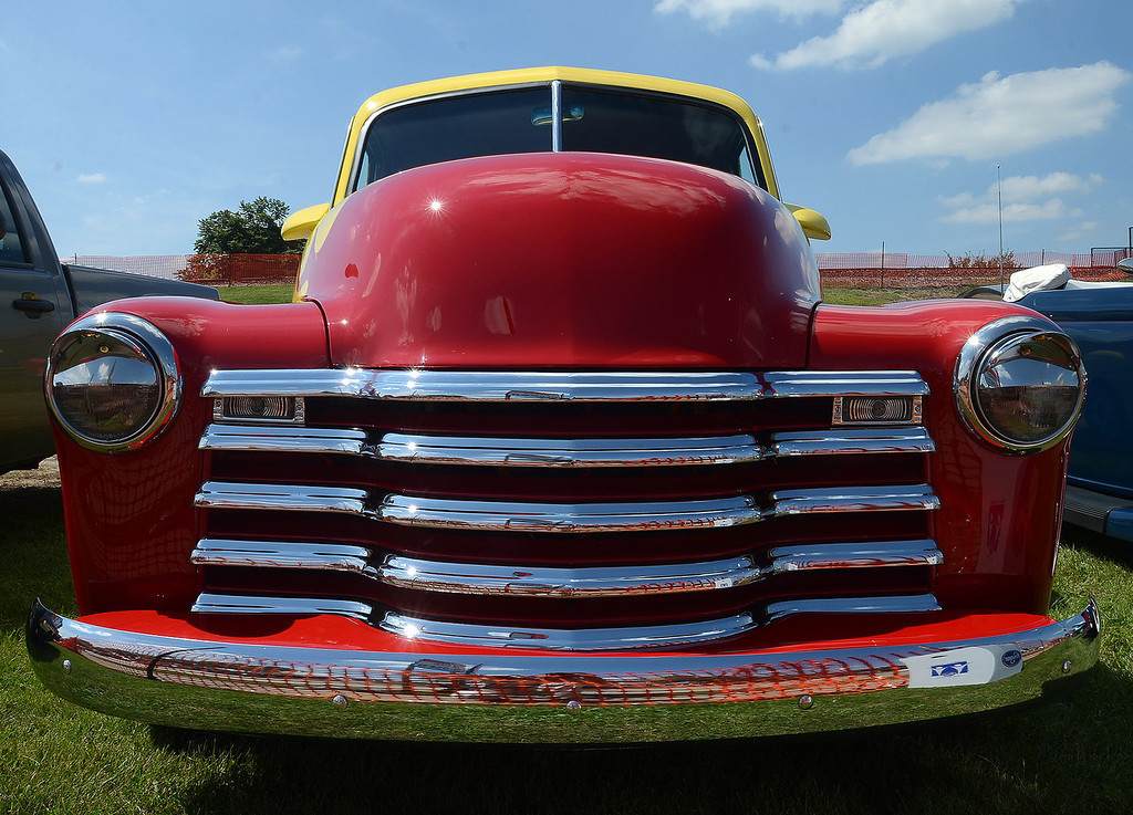 Description of . The front end of a 1951 Checy on display in Pontiac during the 2013 Woodward Dream Cruise, Saturday August 17, 2013. (Oakland Press Photo:Vaughn Gurganian)