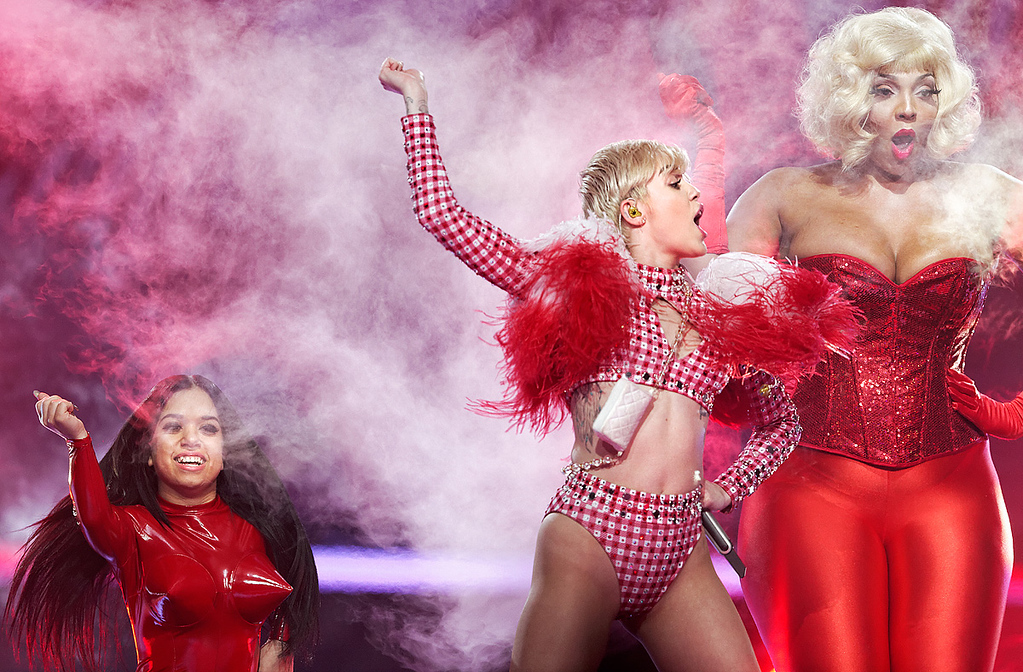 Description of . Miley Cyrus performs at The Palace of Auburn Hills on April 12, 2014. Photo by Ken Settle