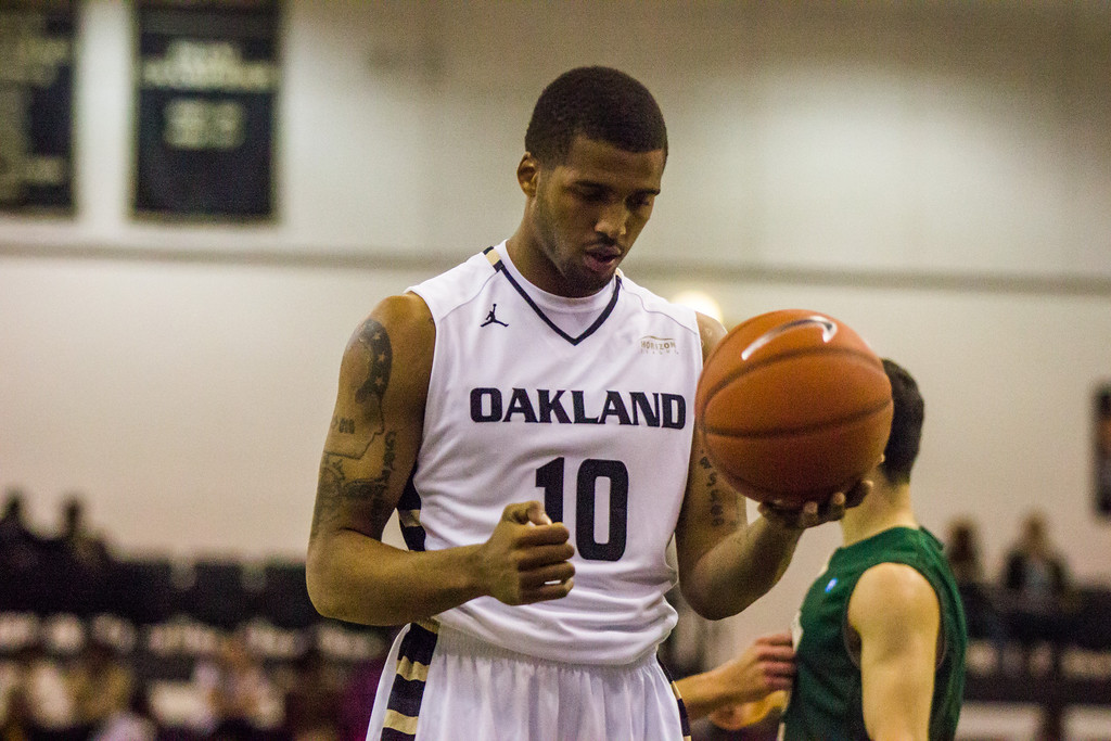 Description of . Oakland guard Duke Mondy prepares to make a free throw Tuesday, Oct. 29, 2013 at the Athletics Center O'rena. Photo by Dylan Dulberg