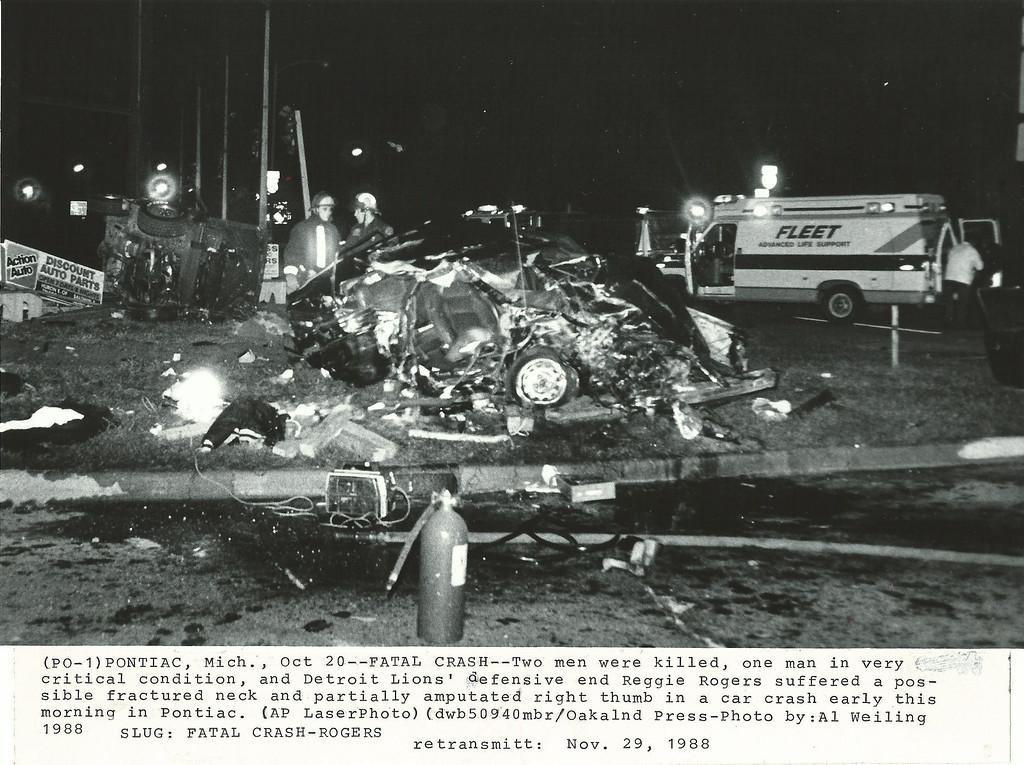Description of . Crash scene photo on Woodward Ave. loop October 1988. Oakland Press file photo
