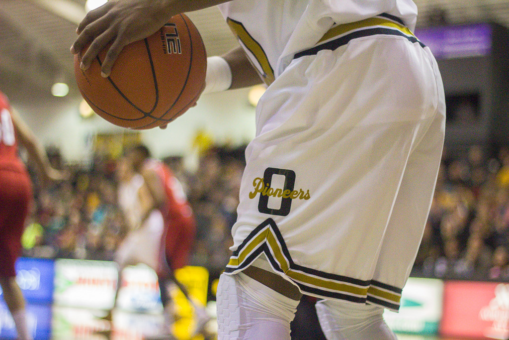 Description of . The Oakland University Golden Grizzlies sported special uniforms, giving homage to the old school mascot, the Pioneers. Photos by Dylan Dulberg/The Oakland Press