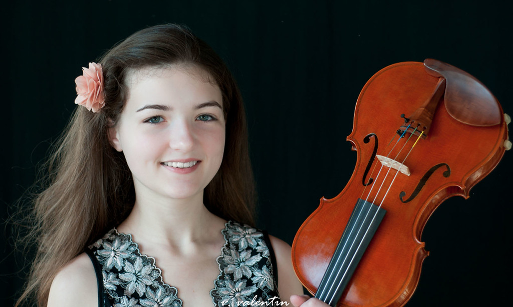 Description of . Sofia Pokrzywa, 16-year-old violinist who will be playing with the DSO. Photo by Victor Mangona