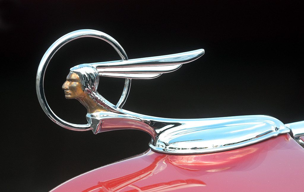 Description of . The hood ornament on a 1934 Pontiac on display during the 2013 Woodward Dream Cruise, Saturday August 17, 2013. (Oakland Press Photo:Vaughn Gurganian)