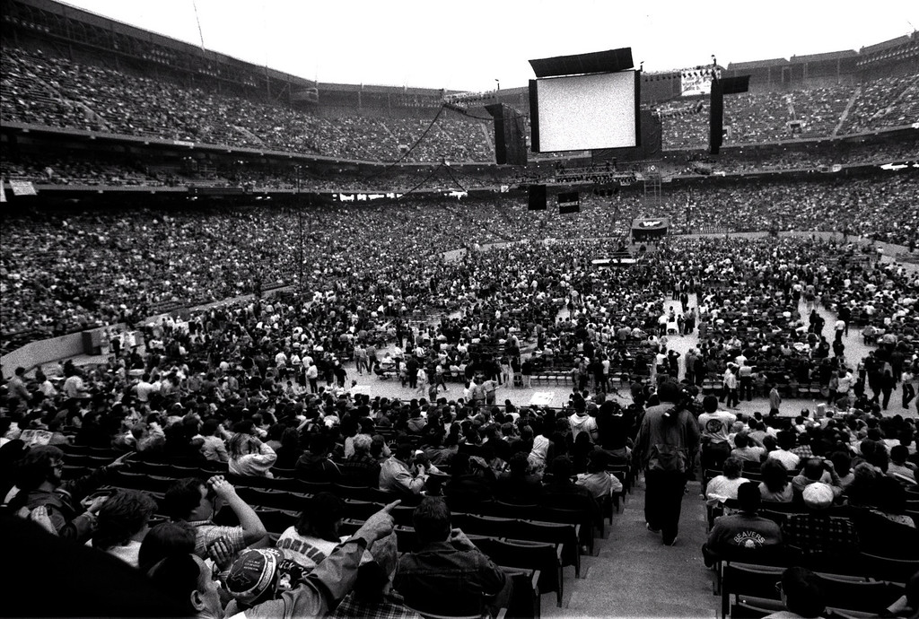 Description of . FILE PHOTO -- Wrestlemania III at the Pontiac Silverdome. Word has it that it drew more people than the Pope's visit.  Photo taken 3-29-87.