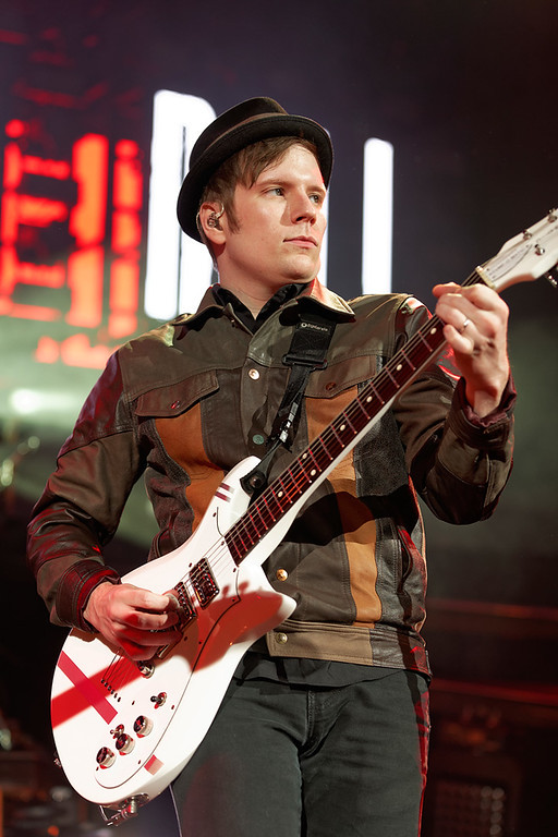 Description of . Fall Out Boy's Patrick Stump at DTE on 7-8-14. Photo by Ken Settle