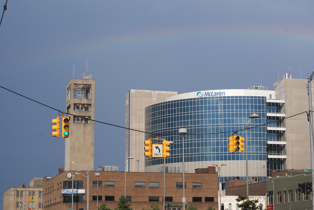 Description of . A rainbow appeared in the skies after a July 19 thunderstorm which traveled through Pontiac and surrounding areas.