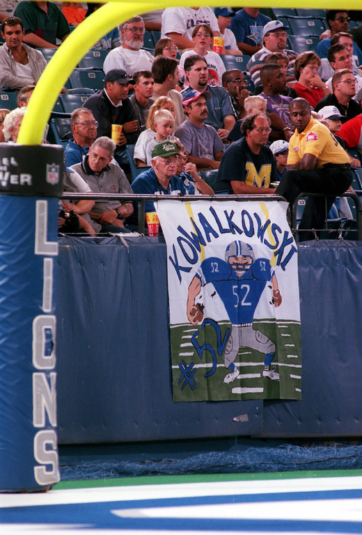 . A banner in the end zone during Friday night\'s preseason home opener against the Cincinnati Bengals.