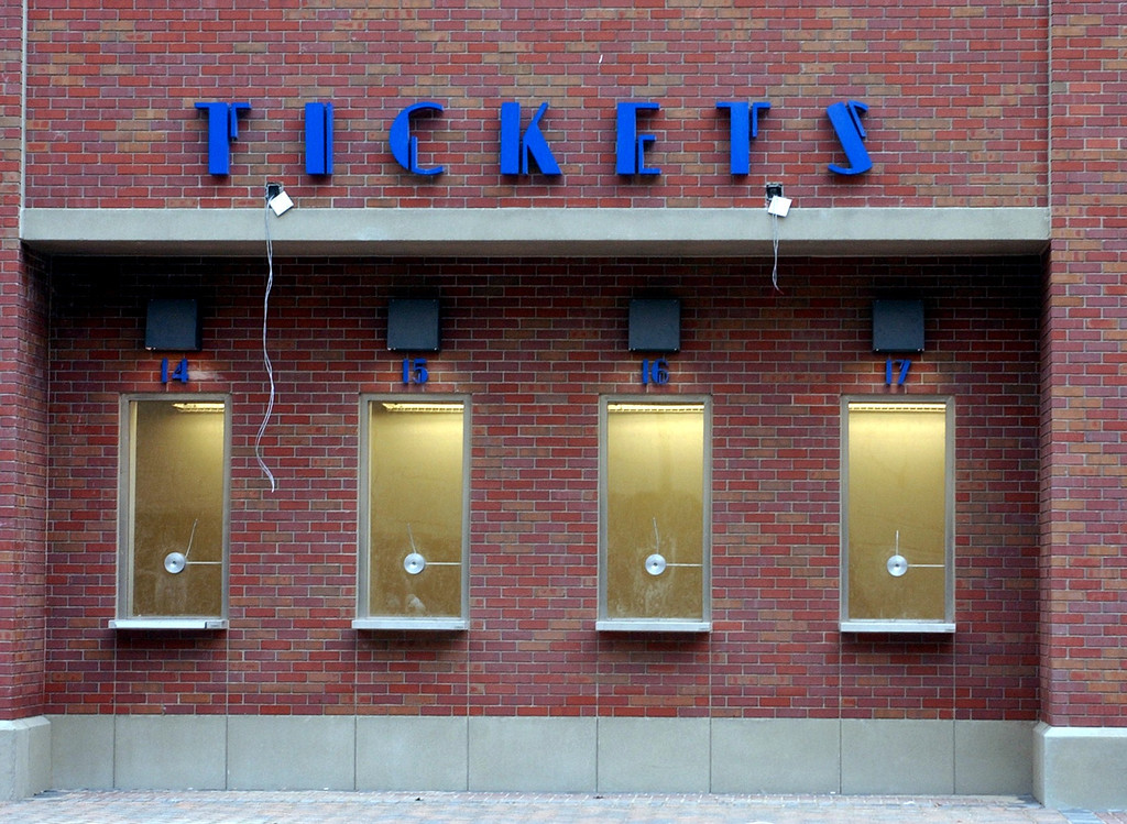 . The front ticket windows at the new Ford Field football staduim, located in downtown Detroit. The 64,355 seat  staduim home of the Detroit Lions football team.