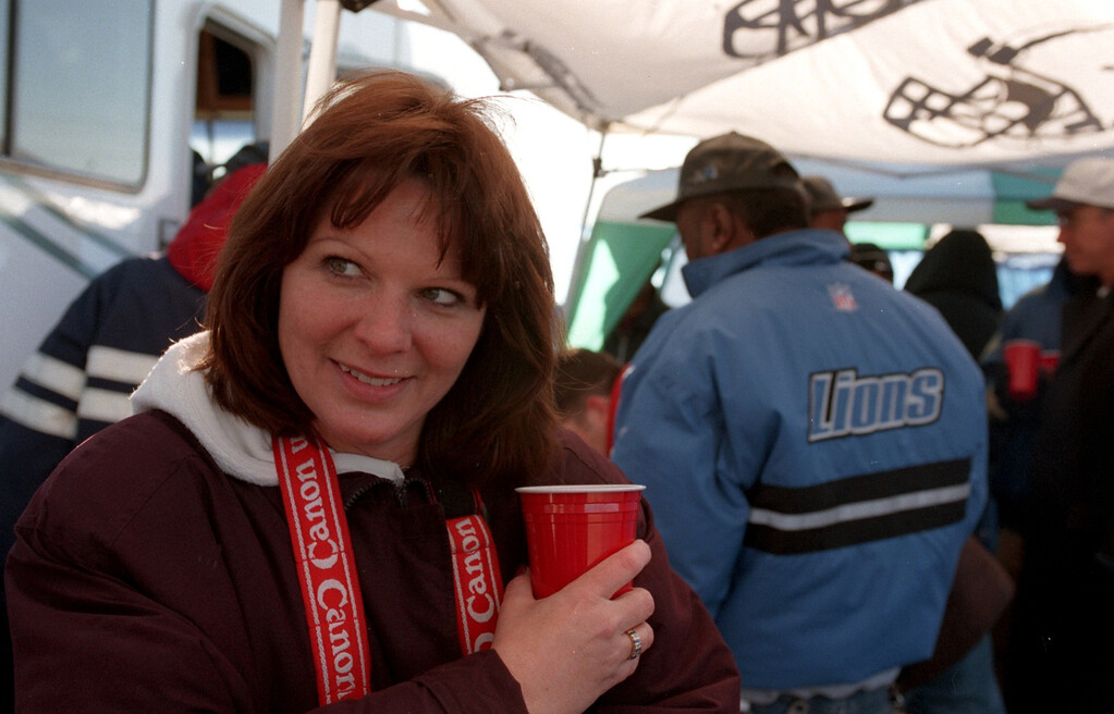 . Maureen Love of Troy, tailgating  before the Detroit Lions game against the Denver Broncos on Christmas Day at the Pontiac Silverdome.