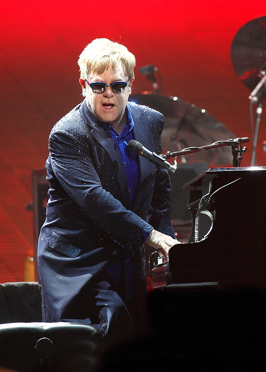 Description of . Elton John at Joe Louis Arena on Friday night. Photo by Ken Settle