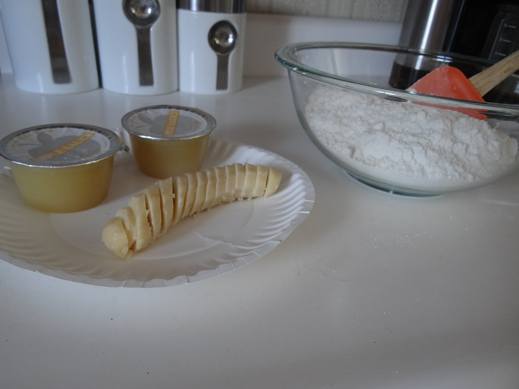 Description of . Slice and using a potato masher, mash a small banana to add with your applesauce.