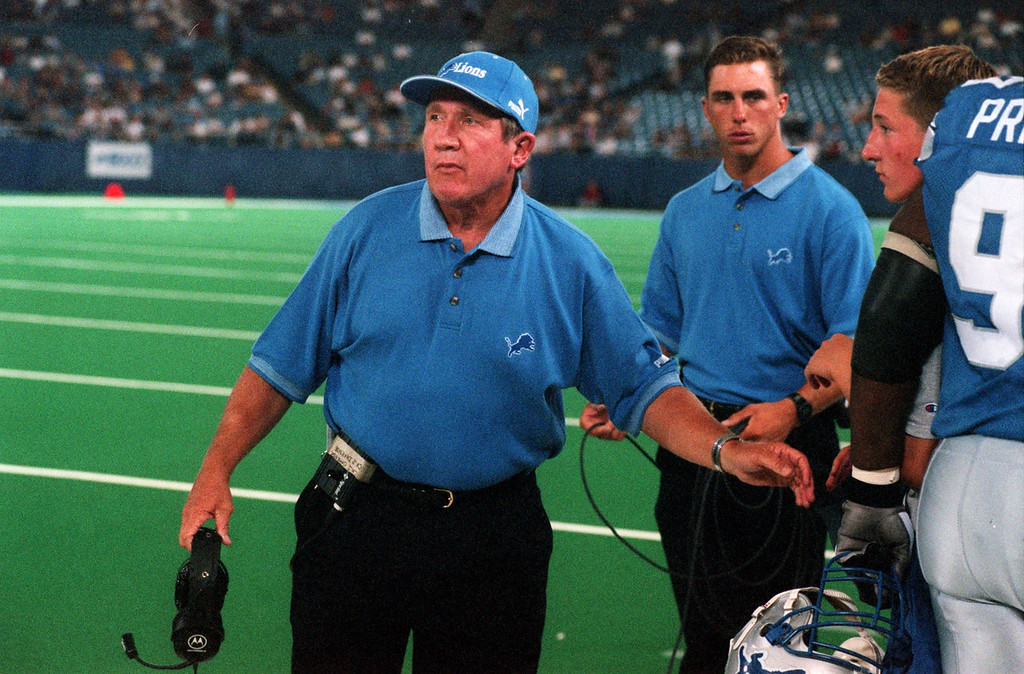 . Detroit Lions head coach Bobby Ross in the first half during Friday night\'s preseason home opener against the Cincinnati Bengals.