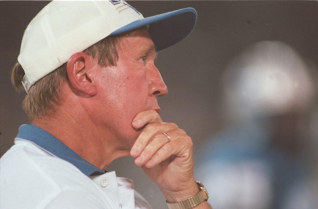 """. Detroit Lions Head Coach Bobby Ross watches his team\'s \'Ugly\"""" loss to the Atlanta Falcons from the sidelines."""