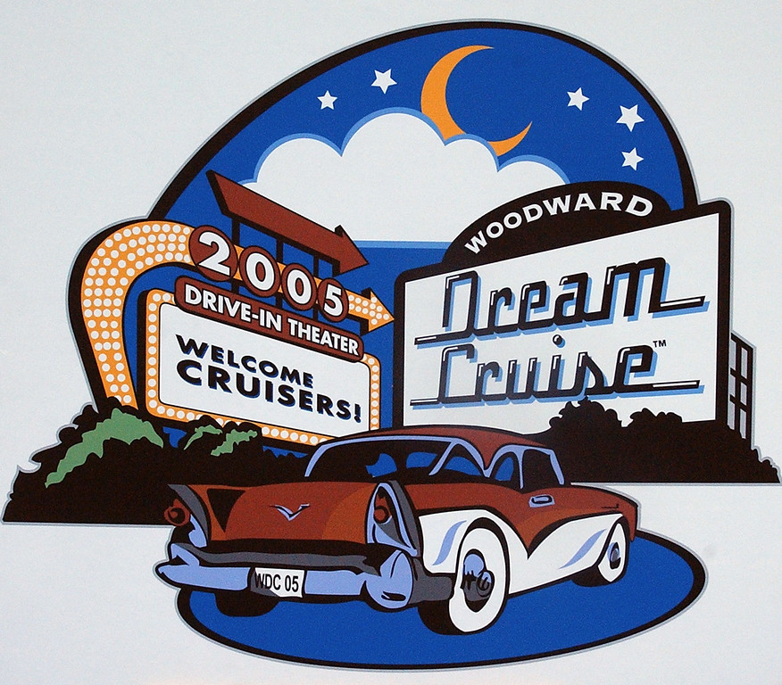 Description of . The 2005 logo for the Woodward Dream Cruise on display at this year\'s Autorama show in Cobo Center in Detroit, Friday March 4, 2005.