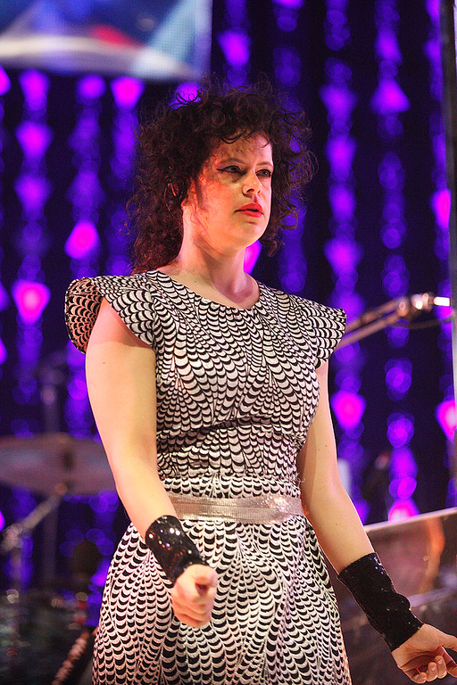 Description of . Regene Chassagne of Arcade Fire performs at The Palace on March 10, 2014. Photo by Ken Settle