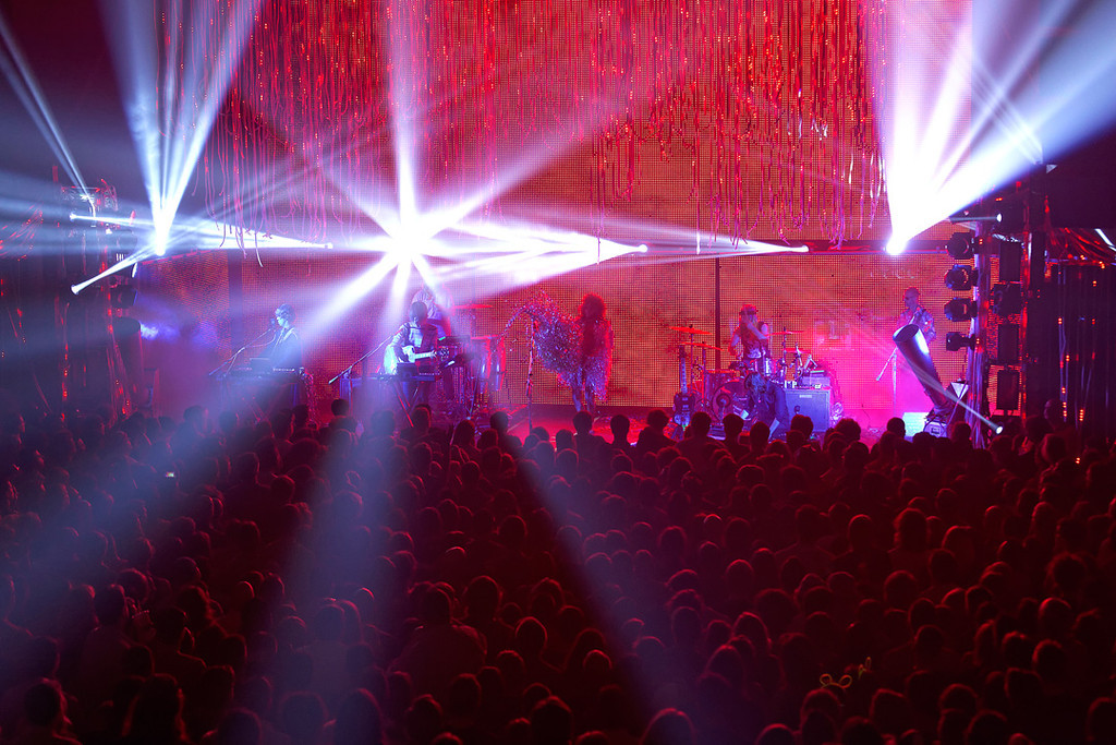 Description of . The Flaming Lips light show at Fillmore Detroit on 6-12-14. Photo by Ken Settle