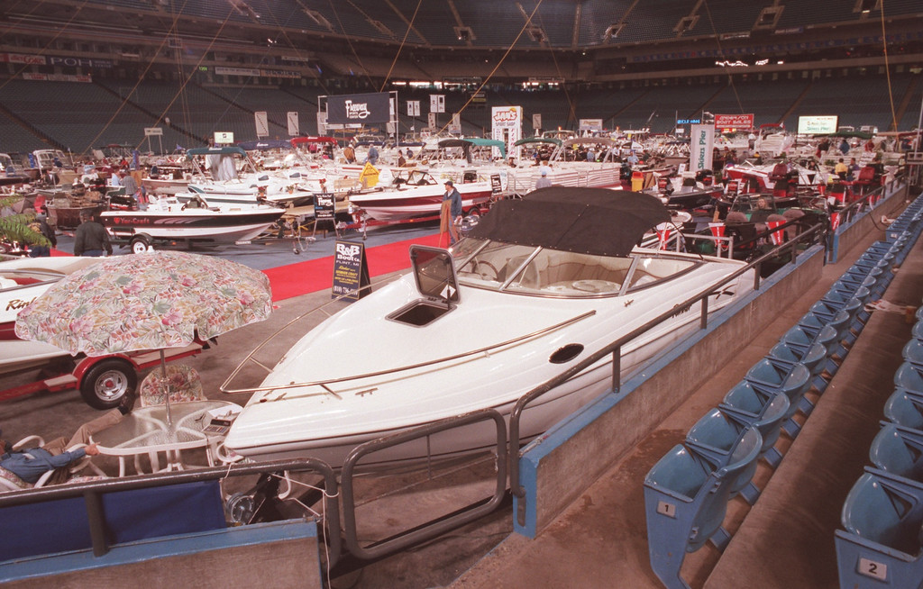 Description of . Boat show at the Pontiac Silverdome.
