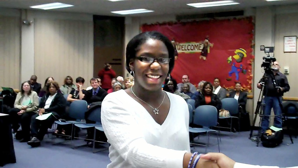 Description of . Pontiac High School junior LaTrevia Myles, won the teen mystery short story first place award for her story