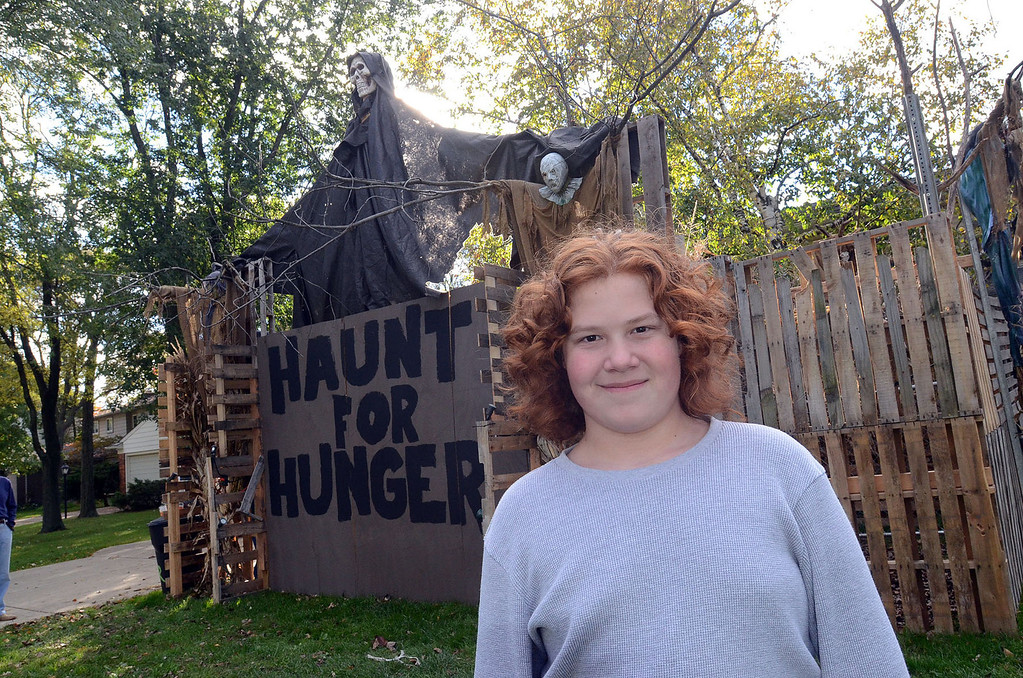 Description of . Cameron Morency, 12, of Southfield, in front of his