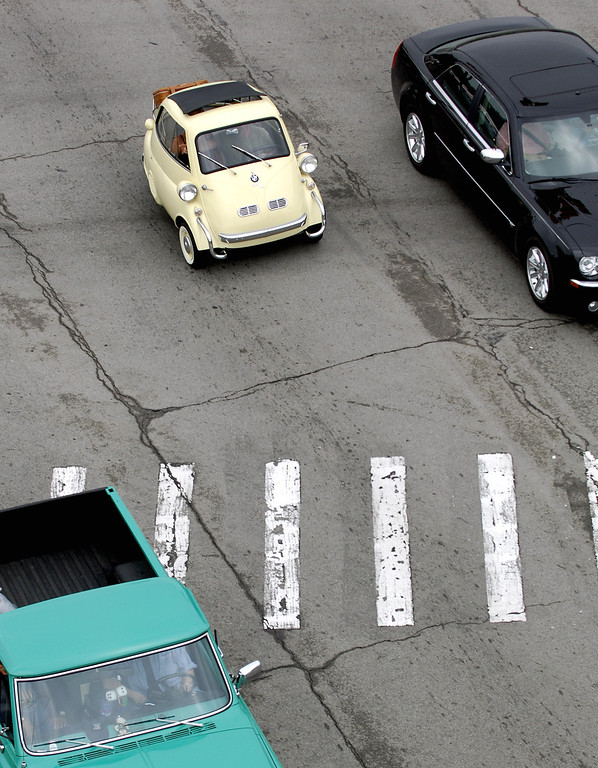 . As seen in this elevated shot, a BMW Isetta got in on the fun Saturday monring during the Woodward Dream Cruise.