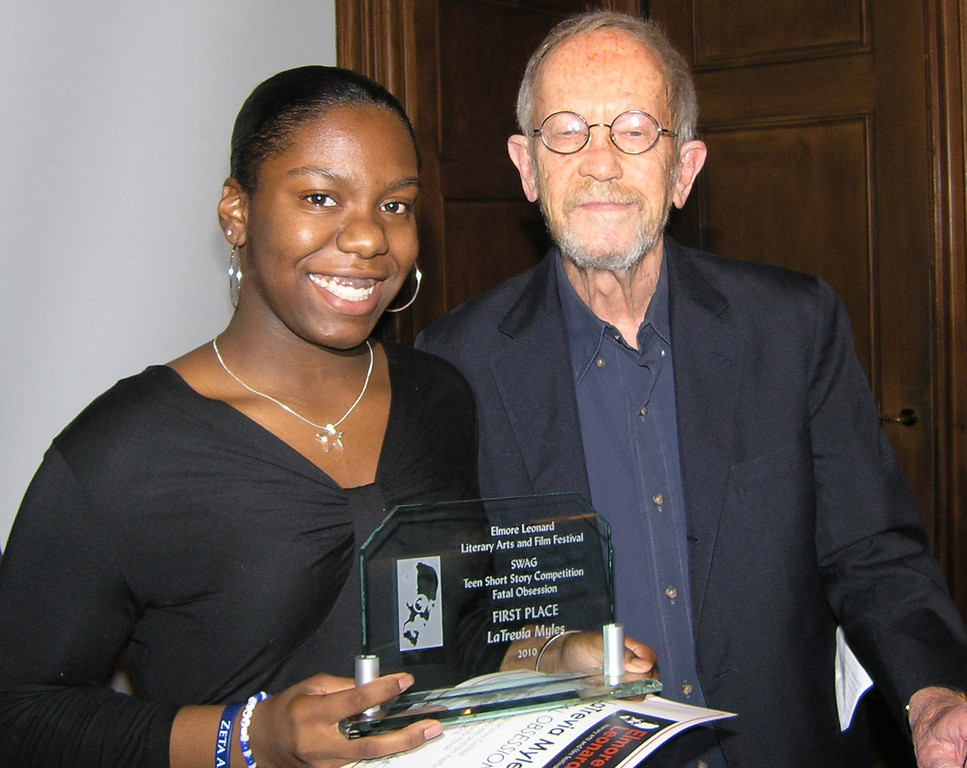 Description of . Photo by Gigi Nichols/Community House Pontiac High School student LaTrevia Myles is a winner of the Elmore Leonard Film Festival short story competition. Here she is with Leonard, a best-selling author who lives in Bloomfield Hills. Story has video by Diana Dillaber Murray