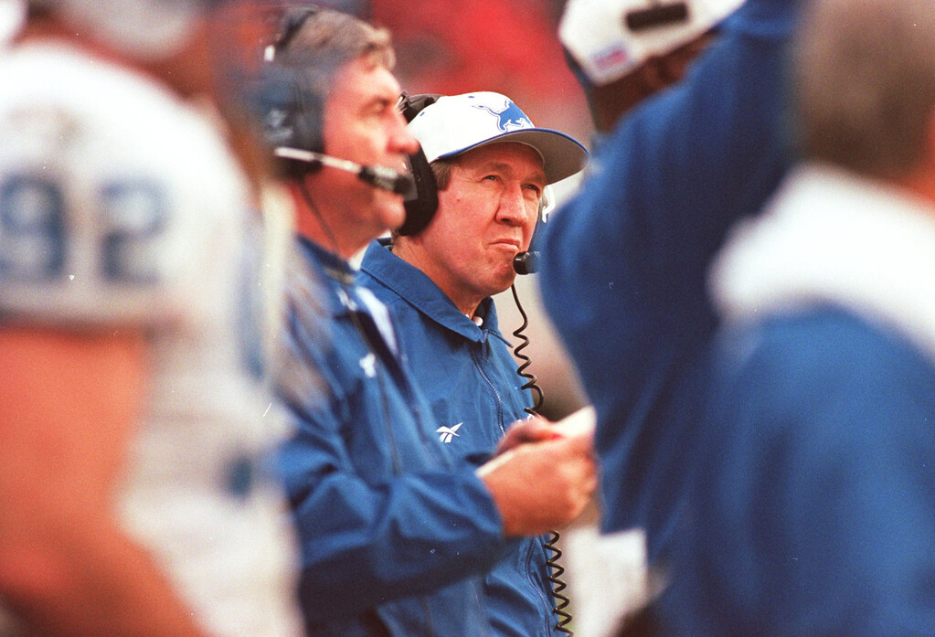 . Detroit Lions Head Coach, Bobby Ross during playoff loss to Tampa , in Houlihan Staduium, 12-28-97.