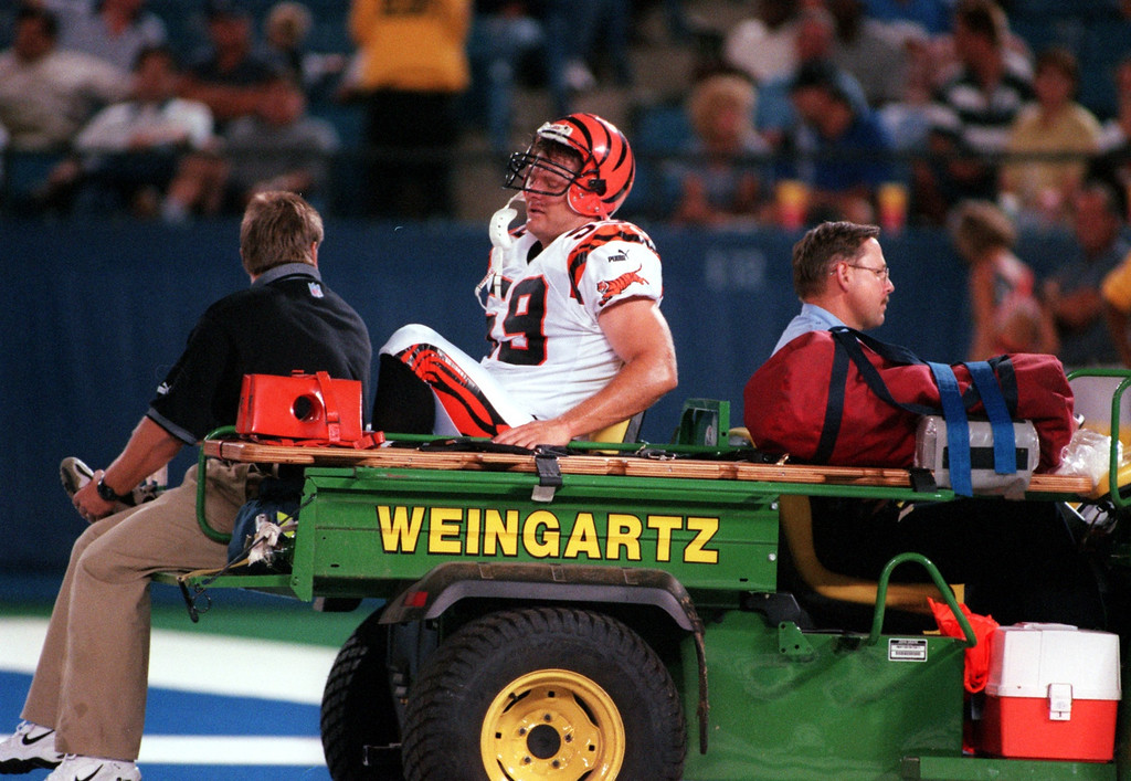 . Greg Truitt (59) of the Cincinnati Bengals was taken off the field due to an injury late in the first half during Friday night\'s preseason home opener against the Detroit Lions.