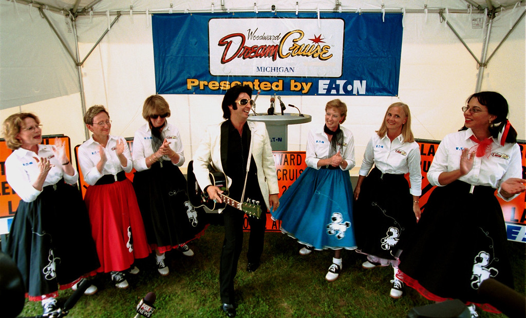 Description of . Elvis and the Poodle Skirt Girls at the Woodward Dream Cruise press conference at Pioneer Park in Royal Oak.  Kick off of this weekends events.