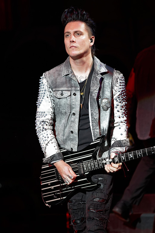 Description of . Avenged Sevenfold's Synyster Gates performs at Mayhem Festival on Thursday, July 18, 2014, at DTE Energy Theatre, Independence Township. Photo by Ken Settle