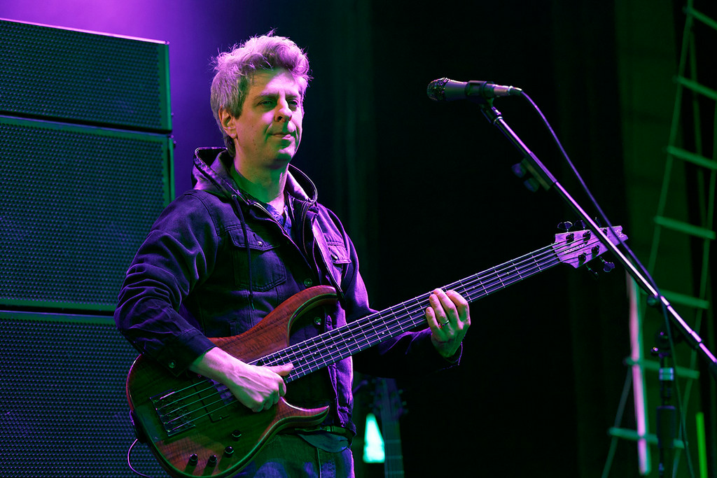 Description of . Mike Gordon of Phish performs at DTE Energy Music Theatre in  Independence Township on 7-16-14. Photo by Ken Settle