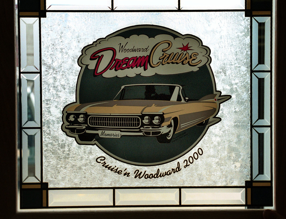 . This is a finished piece of work by Rick Petrella of a Woodward Dream Cruise stained glass piece, at his office in Troy, Mich., Thursday, August 3, 2000.