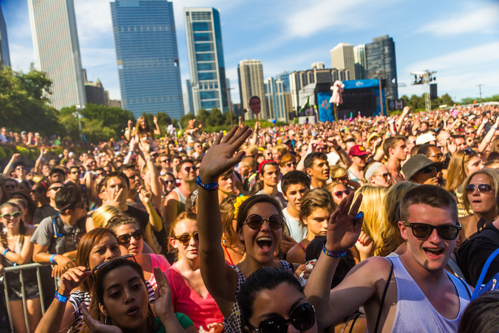 Description of . The crowd at the Red Bull Sound Select Stage for The National