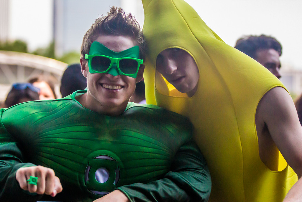 Description of . Many attendees came in full costume, like these Green Lantern and Banana outfits at the Grove stage.