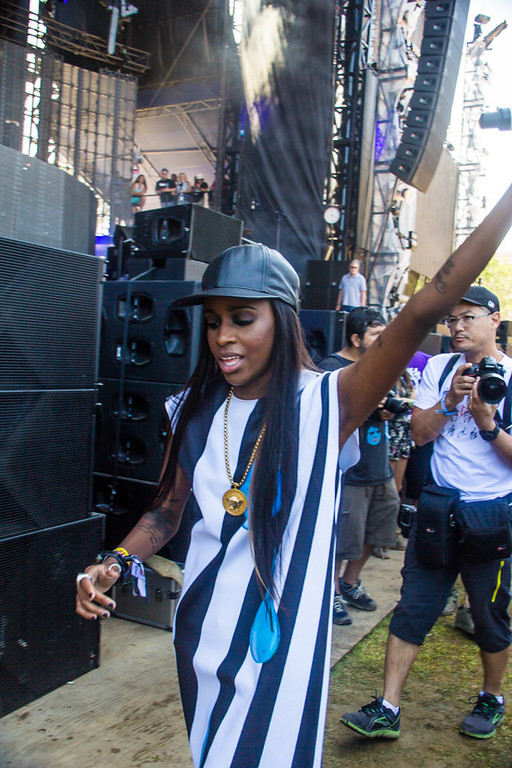 Description of . Rapper Angel Haze left the stage a few times to interact with the fans in the front row of the Perry's Stage during her day 3 set.