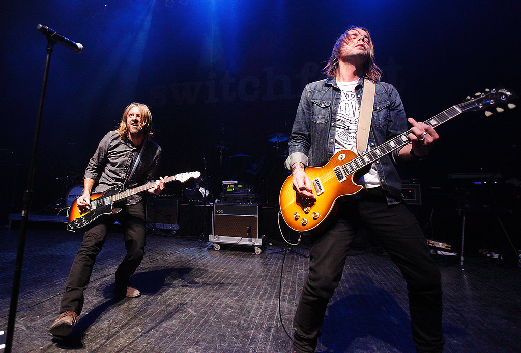 Description of . Jon Foreman and Drew Shirley of Switchfoot at Fillmore Detroit Thursday night, Dec. 12, 2013. Photo by Ken Settle