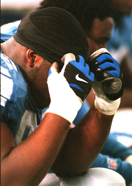 . Lions defensive end Shawn Rogers on the sidelines after the  game with the the Bucs sunday.   The Tampa Bay Buccaneers beat the Detroit Lions 20-17 at the Pontiac Silverdome.