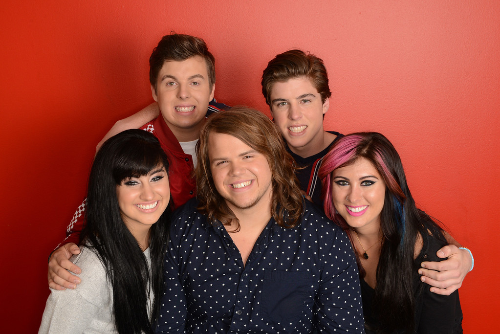 Description of . AMERICAN IDOL: TOP 5: L-R: Jena Irene, Alex Preston, Caleb Johnson, Sam Woolf and Jessica Meuse. CR: Michael Becker. Copyright 2014 FOX Broadcasting.