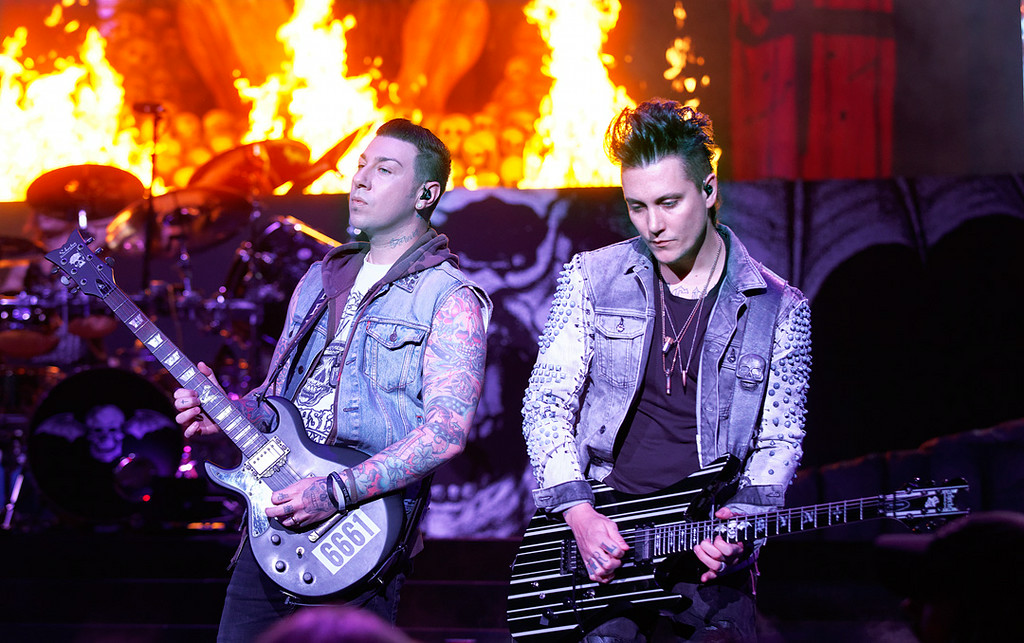 Description of . Avenged Sevenfold's Synyster Gates and Zacky Vengeance perform at Mayhem Festival on Thursday, July 18, 2014, at DTE Energy Theatre, Independence Township. Photo by Ken Settle
