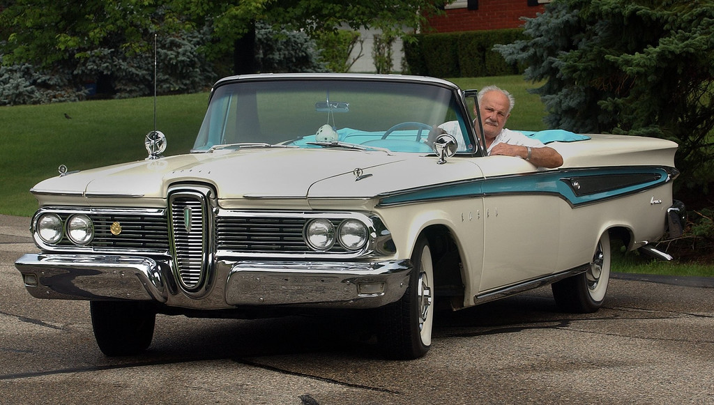 Description of . Frank Robbins, of Troy, with his 1959 Ford Edsel Corsair he will be driving in this year\'s Woodward Dream Cruise.