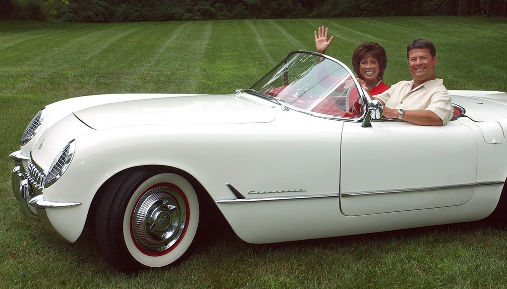 Description of . Diane Lewis and Steven Clark both TV anchors for ABC channel 7 sit in a classic 1953 Corvette as a promo for this year's Annual Woodward Ave. Dream Cruise.