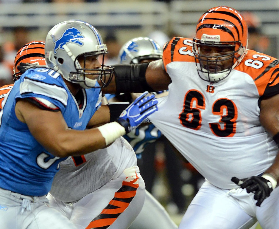 . Detroit Lions DT Ndamukong Suh rushes the passer while being blocked by Bengals G Bobbie Williams during their preseason game against the Cincinnati Bengals at Ford Field, Friday August 12, 2011. (Oakland Press Photo By: Vaughn Gurganian)